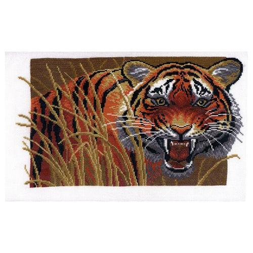 654 Набор для вышивания Hobby&Pro 'Тигр на охоте' 27*17см