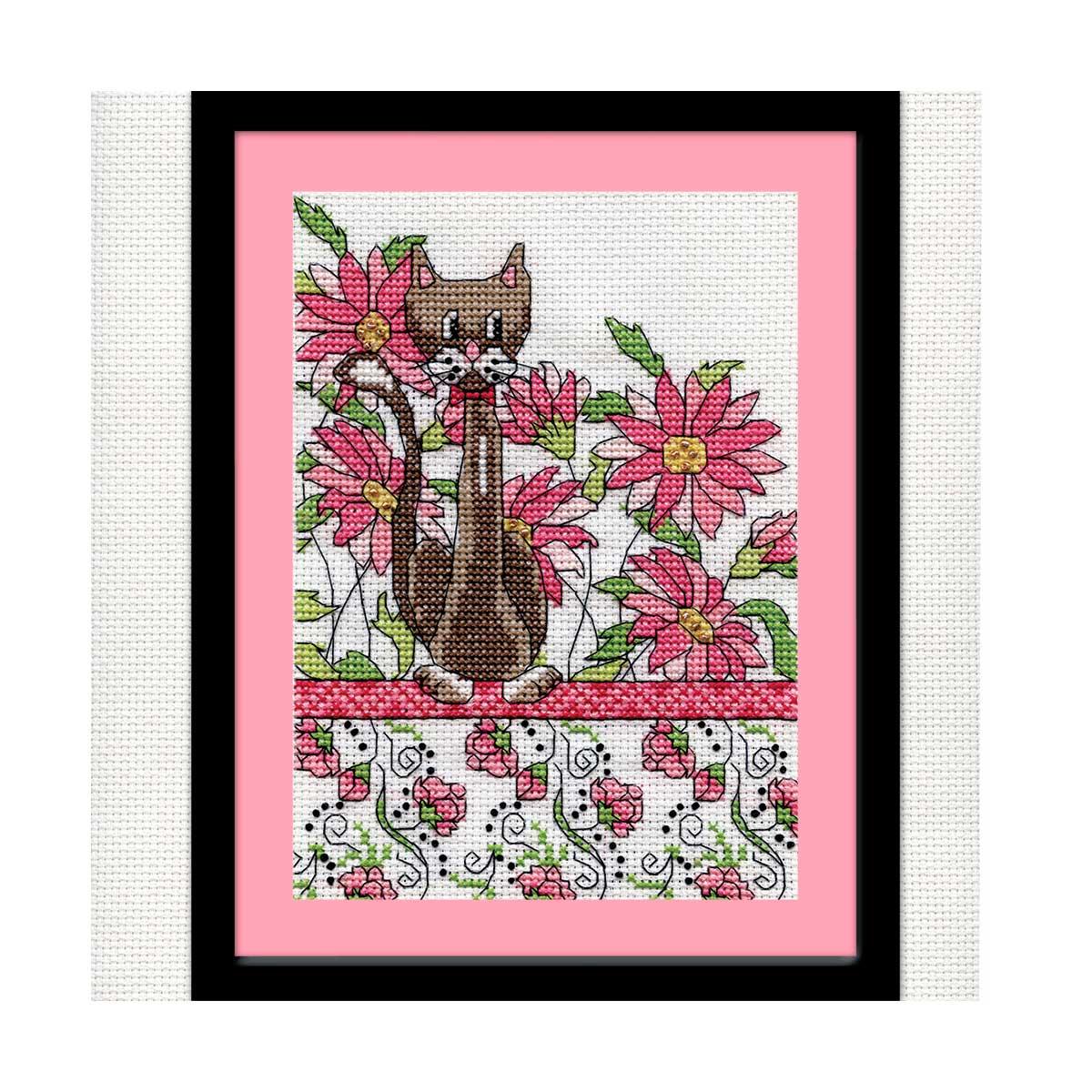 2806 DWC Набор для вышивания 'Кот среди розовых цветов' 13х18 см