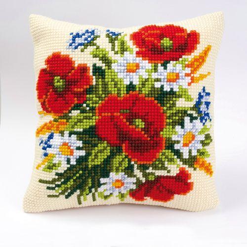 0008562-PN Подушка Vervaco 'Летние цветы' 40x40см