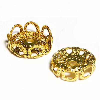 17-0013 Окончания (шапочки для бусин) золото 10*4мм