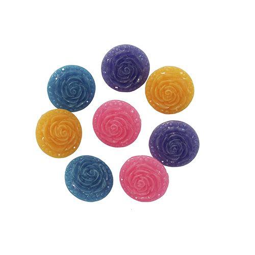 Пуговицы 'Розочки', набор 4 цвета, 8 шт