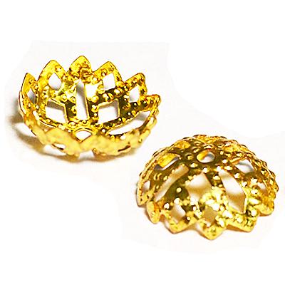 17-0016 Окончания (шапочки для бусин) золото 9*4мм