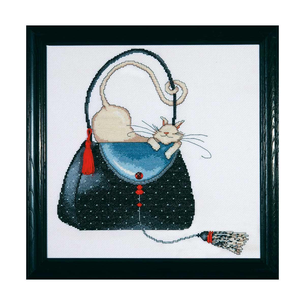 2729 DWC Набор для вышивания 'Кошка на сумочке в горошек' 30х30 см