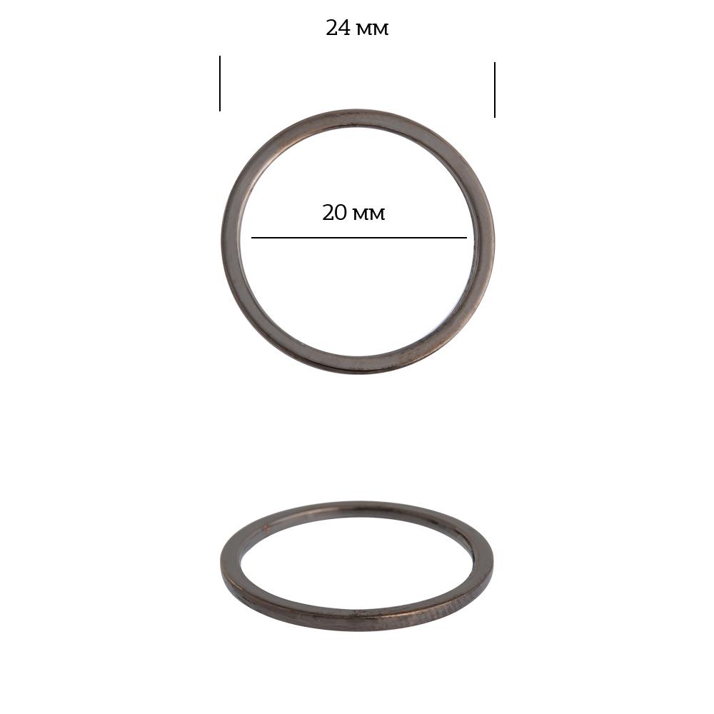 Кольцо металл TBY-3A1017.3 24мм (внутр. 20мм) цв. черный никель уп. 10шт, TBY3A10173