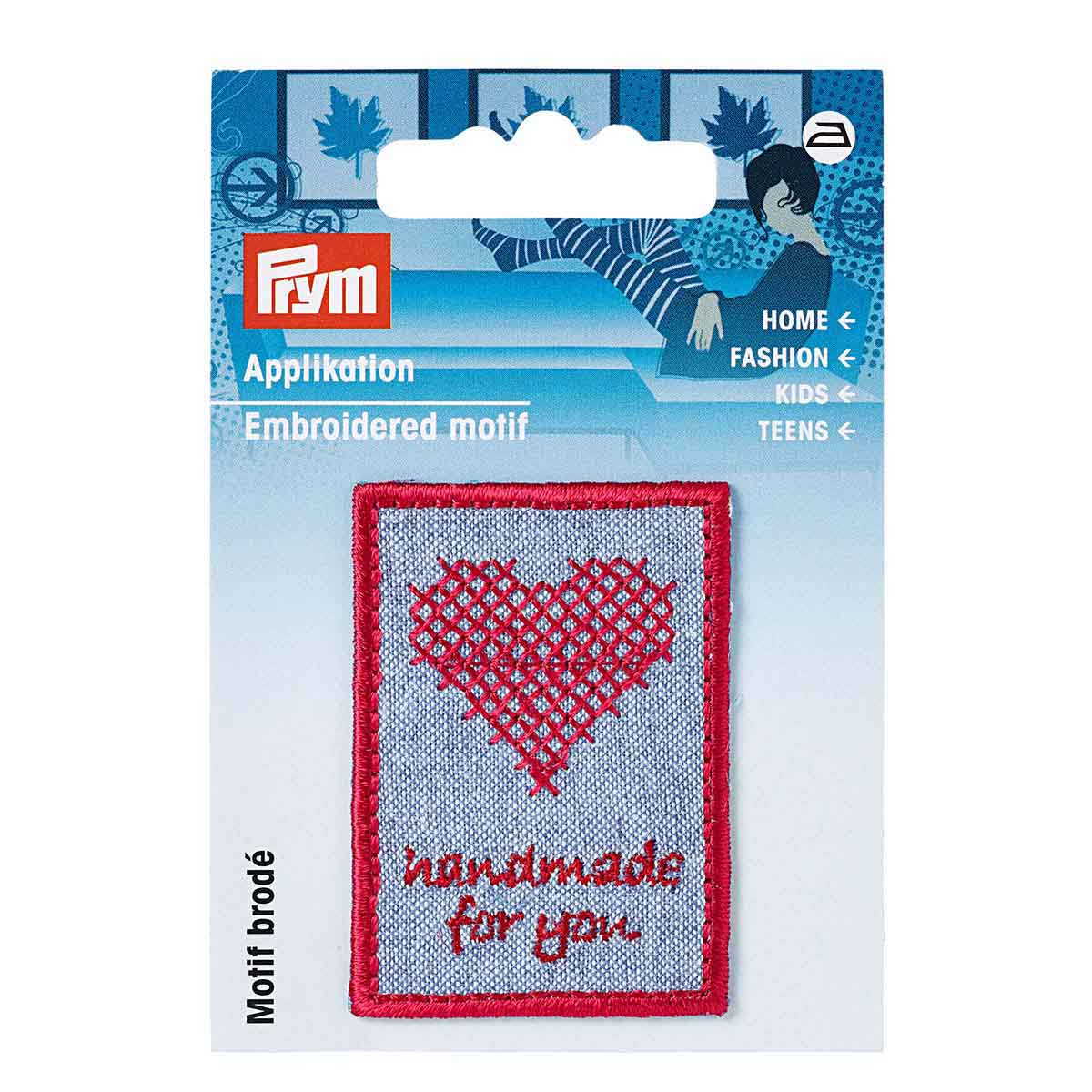 926046 Термоаппликация Handmade 'Вышивка' синий/красный цв. 1шт Prym