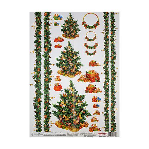 SCB501034 Карта для декупажа 'Рождественская подарки', 32*45 см, Scrapberry's