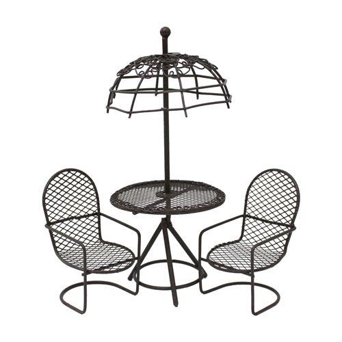 KB4245/S3 Набор метал. стол с зонтиком с 2-мя стульями,корич. Astra&Craft (3шт/упак)