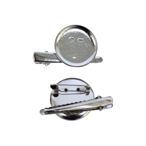 20589 Заготовка для броши с булавкой и прищепкой, металл, 3,0см*2шт