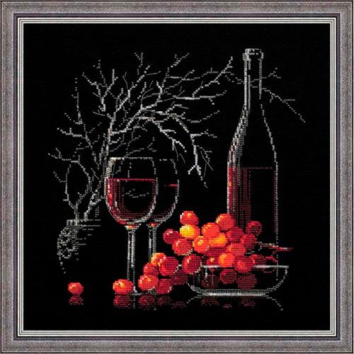 1239 Набор для вышивания Riolis 'Натюрморт с красным вином', 30*30 см