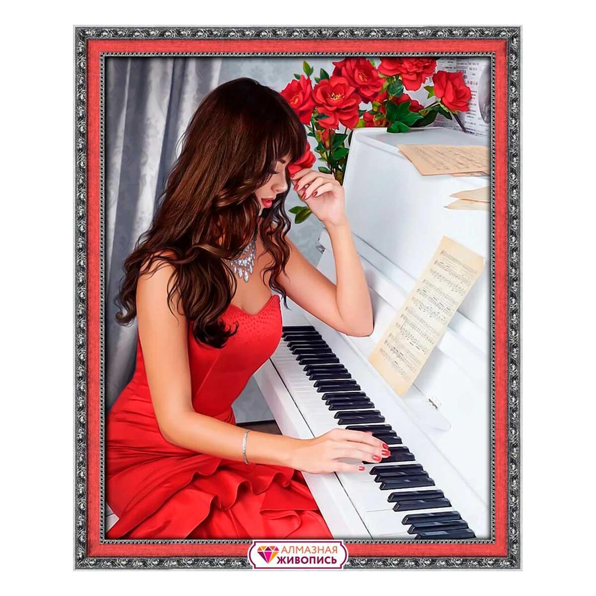 АЖ-1836 Картина стразами «Пианистка» 40*50см