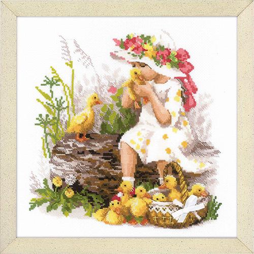 1781 Набор для вышивания Риолис 'Девочка с утятами' 30*30см