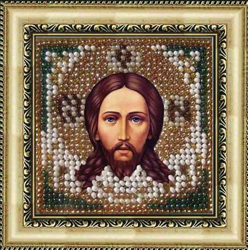 008ПМИ Набор для вышивания бисером 'Вышивальная мозаика' Икона 'Спас Нерукотворный', 6,5*6,5 см