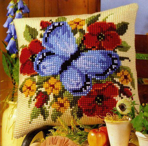 0008589-PN Подушка Vervaco 'Голубая бабочка' 40x40см