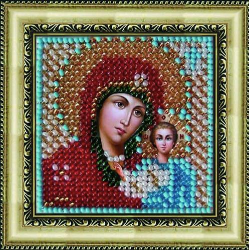 011ПМИ Набор для вышивания бисером 'Вышивальная мозаика' Икона 'Божия матерь Казанская', 6,5*6,5 см