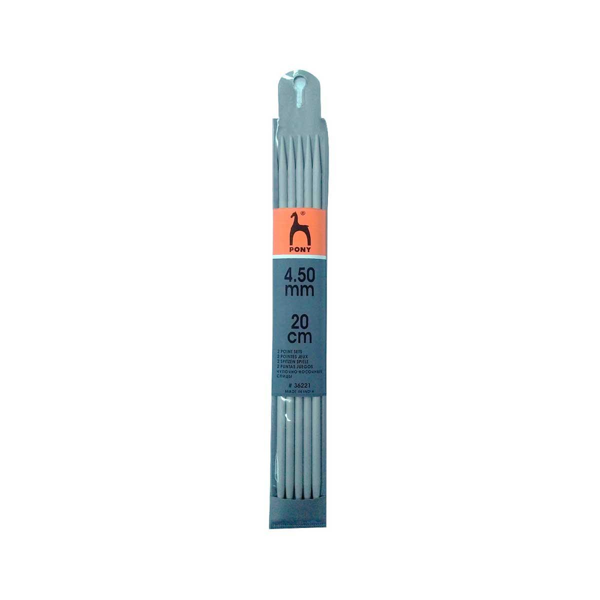 36221 Спицы чулочные 4,50 мм/ 20 см, алюминий, 5 шт PONY