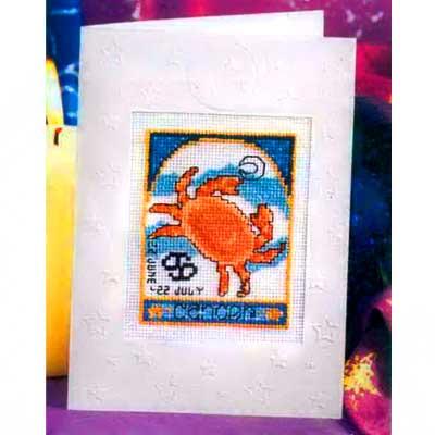 854 DWC Набор для вышивания открытка 'Знаки зодиака. Рак.' 12х16 см