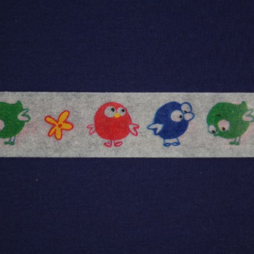 SCB4905016 Бумажный скотч с принтом 'Птицы', Basik&Co, 15 мм*8 м, ScrapBerry's