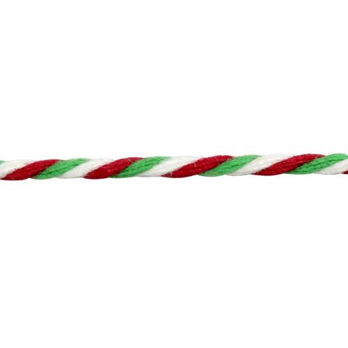 1AS-170 Шнур декоративный 1,5мм*100м, цв. бел/красн/зел