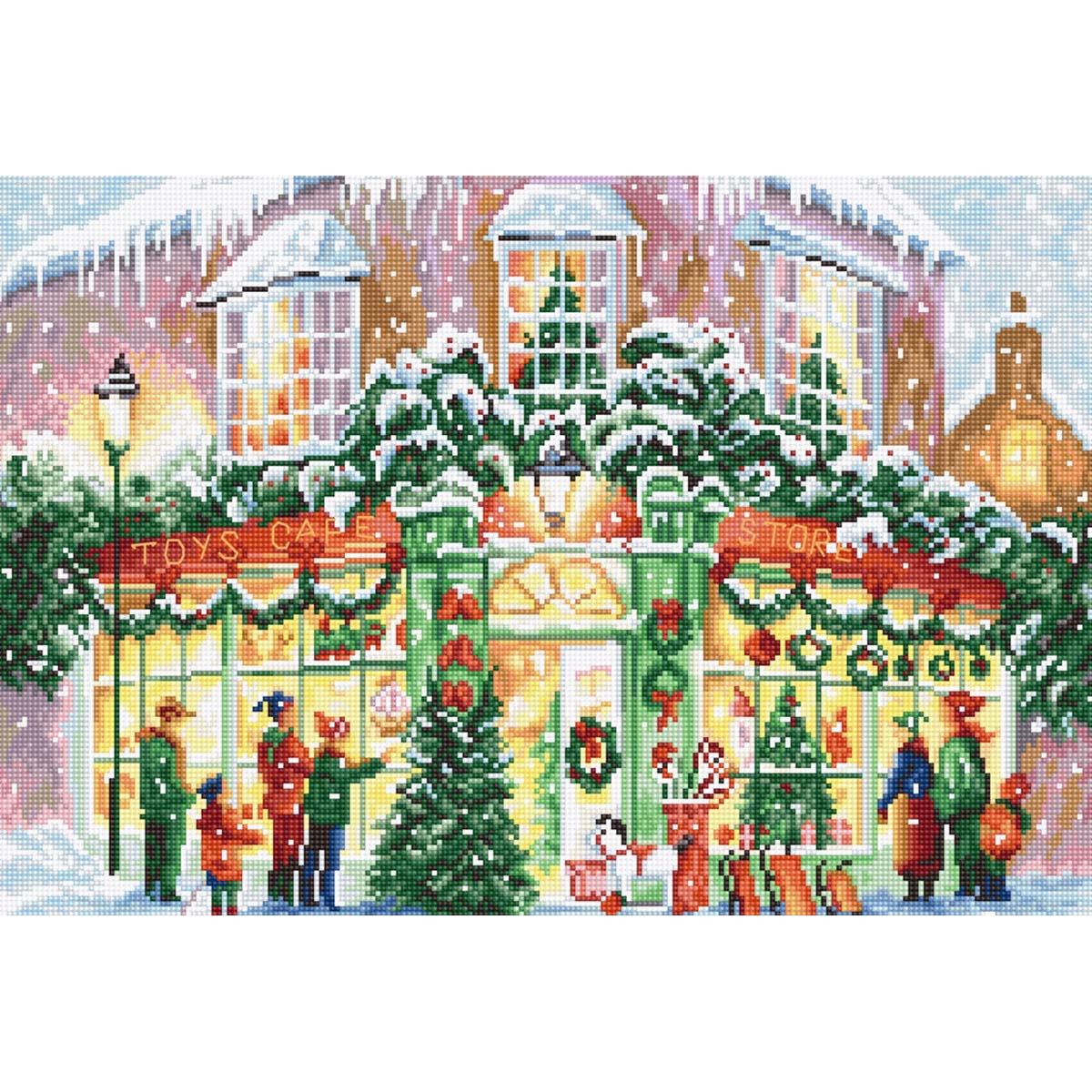 Leti914 Набор для вышивания LetiStitch 'Рождественский магазин' 34*28см