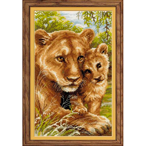 1262 Набор для вышивания Riolis 'Львица с львёнком', 22*38 см