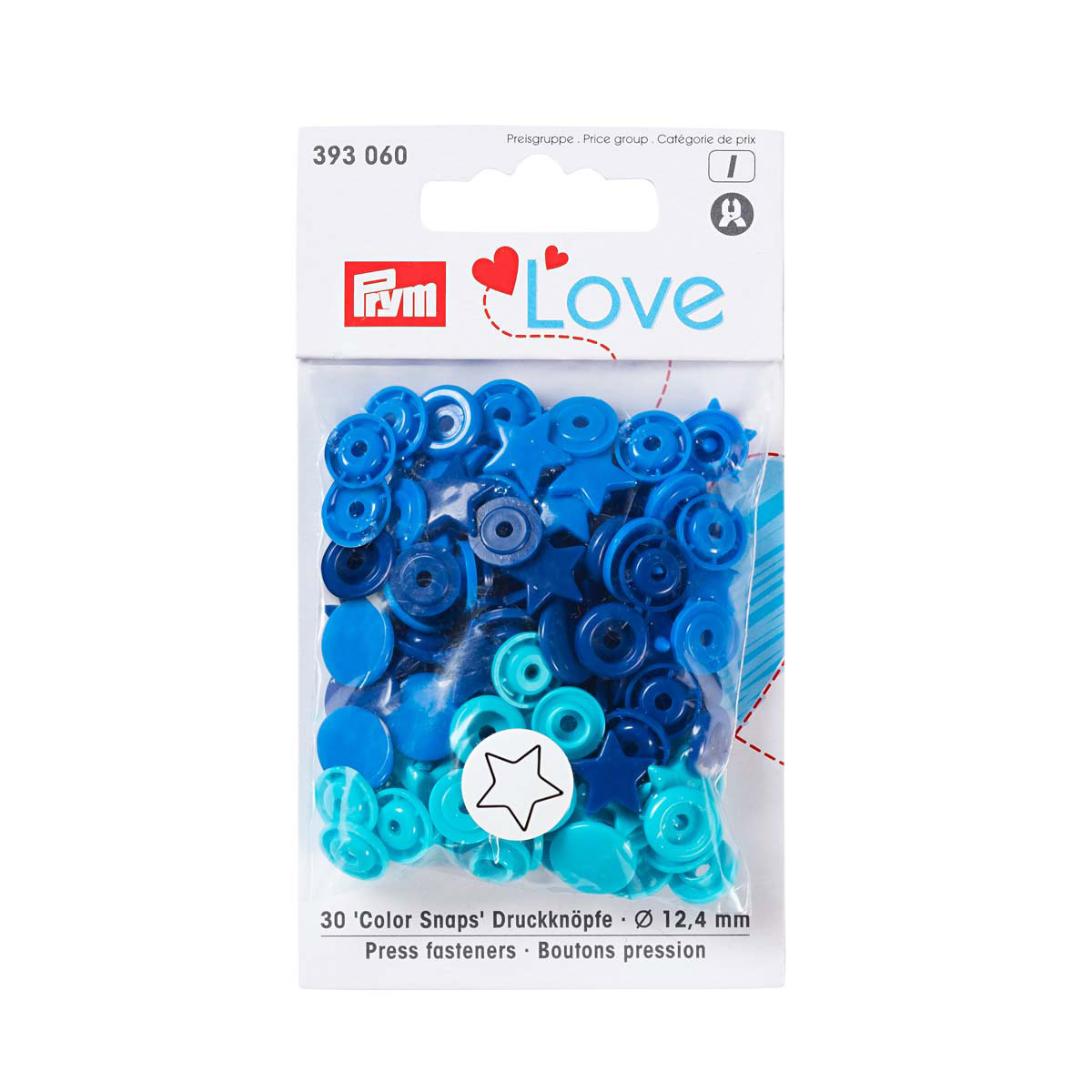 393060 Kнопки 'Звезда' Color Snaps Prym Love, синий/бирюза/чернильный, 12мм, 30шт Prym