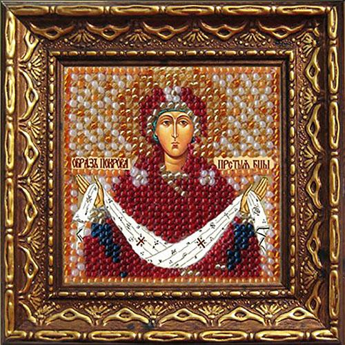 033ПМИ Набор для вышивания бисером 'Вышивальная мозаика' Икона 'Покрова Пресвятой Богородицы', 6,5*6,5 см