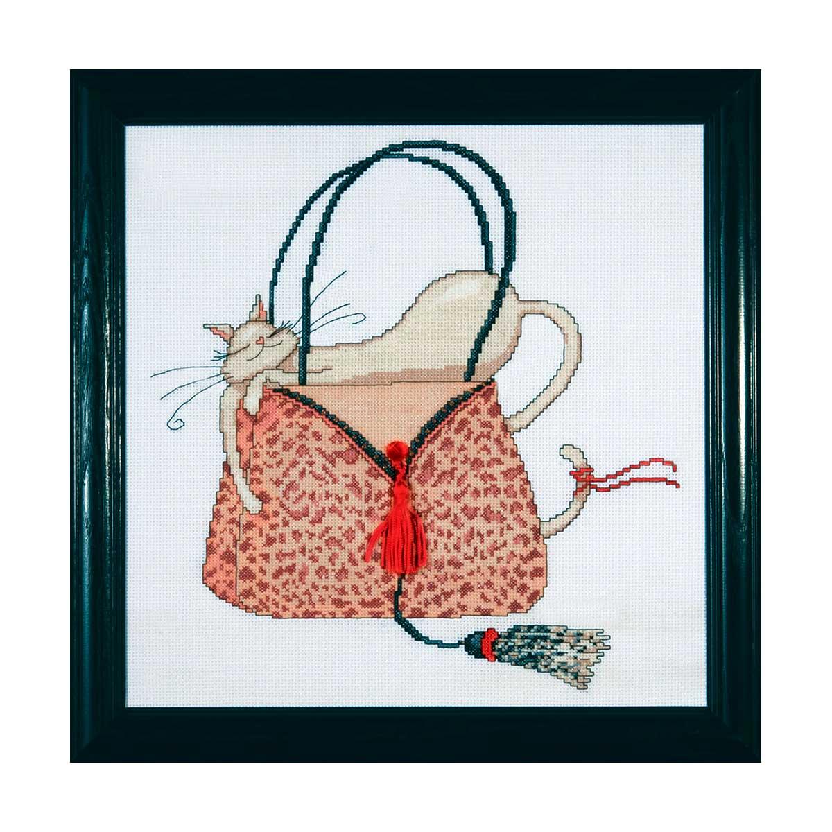 2728 DWC Набор для вышивания 'Кошка на леопардовой сумочке' 30х30 см