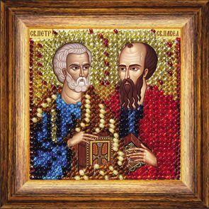081ПМИ Набор для вышивания бисером 'Вышивальная мозаика' Икона 'Святые Апостолы Петр и Павел', 6,5*6,5 см