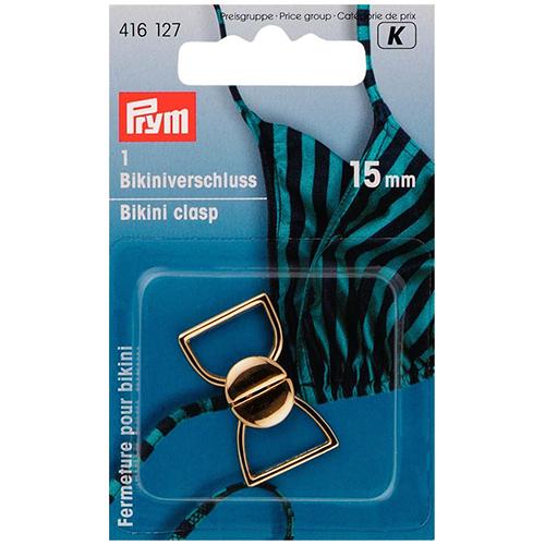 416127 Застежка для бикини (металл), золотистый, 15 мм, Prym