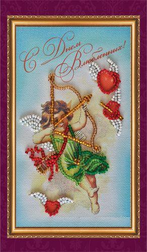 АО-055 Набор-открытка для вышивания 8,4*14см 'Днем влюбленных-1'