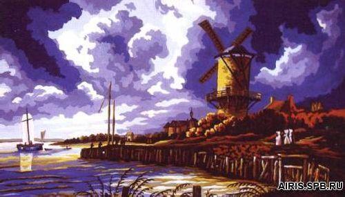 11568-CDA Канва с рисунком, Collection D`Art 'Мельница' 25*20 см