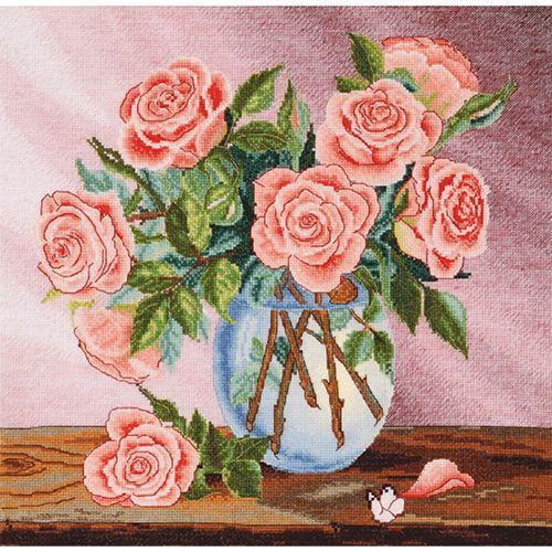 954 Набор для вышивания Hobby&Pro 'Букет роз' 32*32см