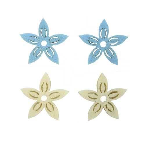 61215104 Фигурки из фетра 'Цветы', 12шт, 30мм, цвет: светло-голубой / белый, Glorex