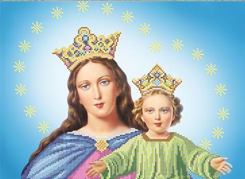 A506 Атлас под бисер 30х40см 'Дева Мария с Иисусом'