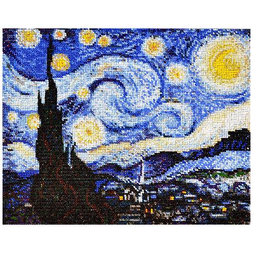 Р-103 Набор для вышивания бисером Созвездие. По мотивам картины Винсента Ван Гога 'Звёздная ночь' 30*24 см