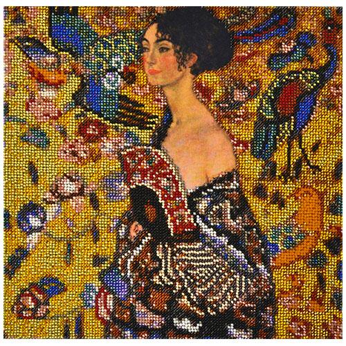 Р-104 Набор для вышивания бисером Созвездие. По мотивам картины Густава Климта 'Дама с веером' 25*25см