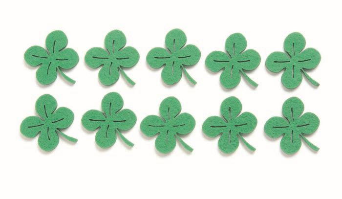 67101321 Фигурки из фетра 'Листья клевера', 10шт, 3,5см, цвет: зеленый, Glorex