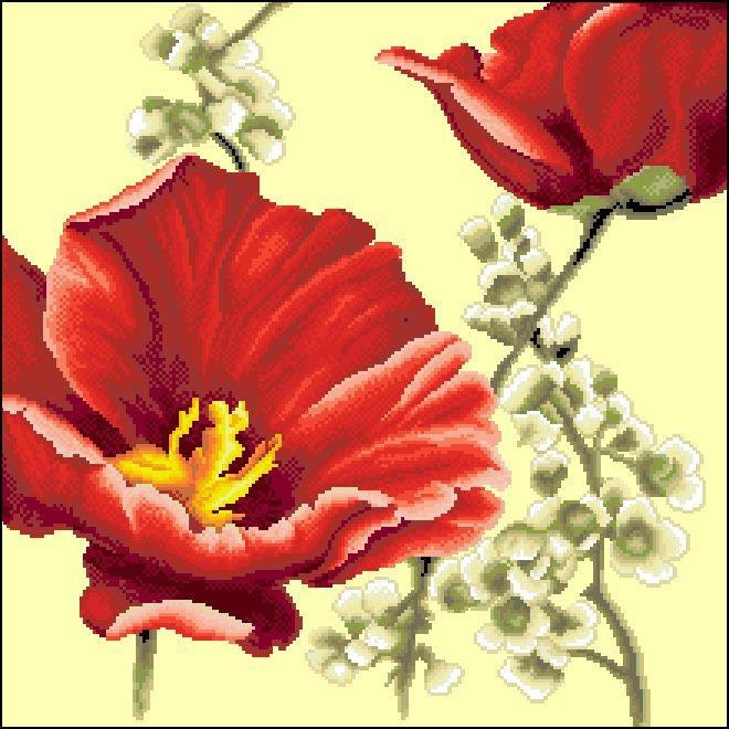 Ц-028 Канва с рисунком 'Красные маки' 39х39
