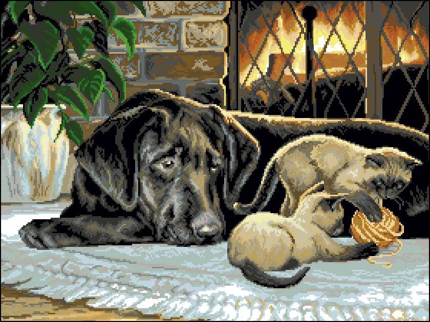 Ф-019 Канва с рисунком 'Гелиос' 'Собака и котята', 57х43,5 см