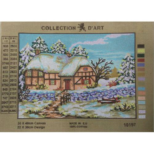 10197-CDA Канва с рисунком, Collection D`Art 'Зима', 22*30см
