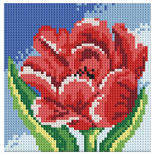 АЖ-1074 Картина стразами 'Алмазная живопись' 'Красный тюльпан', 15*15 см