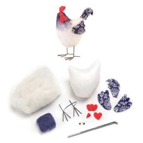 62905906 Набор для валяния (пенопласт, игла, шерсть и фурнитура) Петух белый Glorex