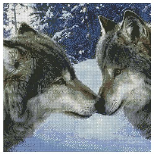 АЖ-1053 Картина стразами 'Алмазная живопись' 'Волчий поцелуй', 50*50 см