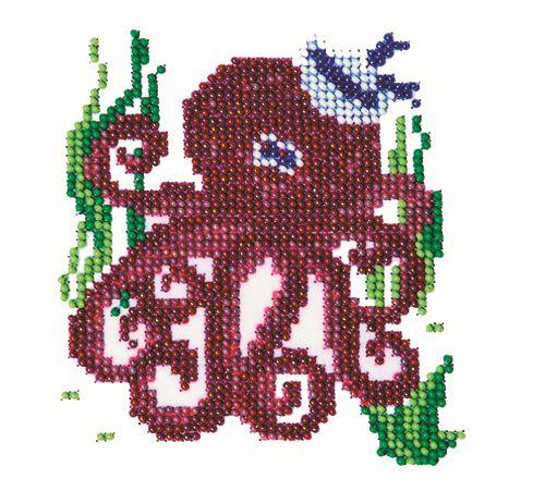 Б-0040 Набор для вышивания бисером 'Бисеринка' 'Осьминог', 11*12 см