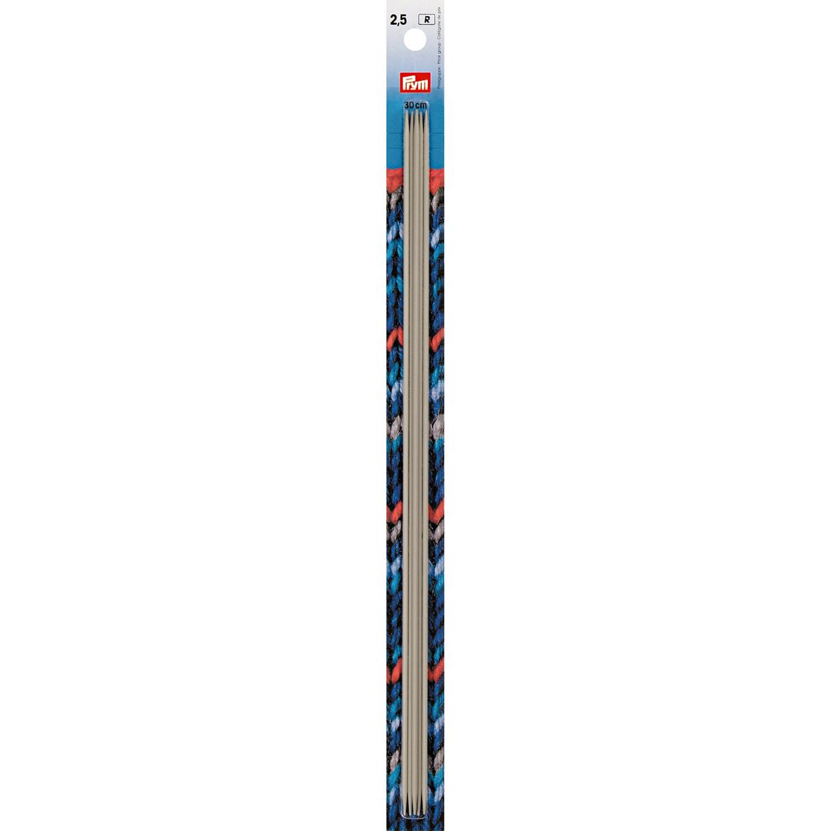 191556 Спицы чулочные, алюминий, жемчужно-серый, 30 см*2,5 мм, упак./5 шт., Prym