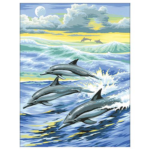 АЖ-1062 Картина стразами 'Алмазная живопись' 'Семья дельфинов', 30*40 см