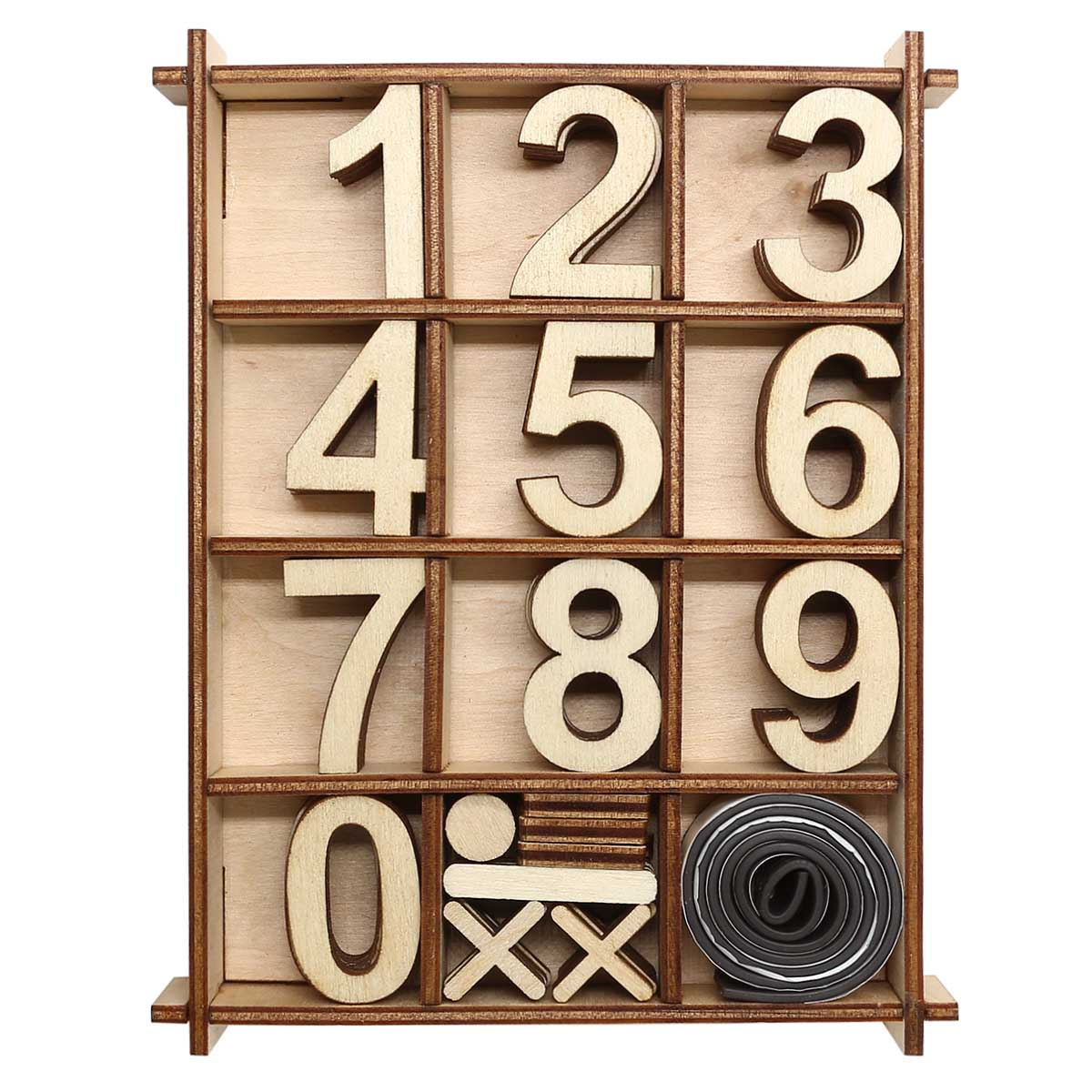 L-1175 Деревянная заготовка Набор цифр 48шт в коробке 11,3*14,6см Астра