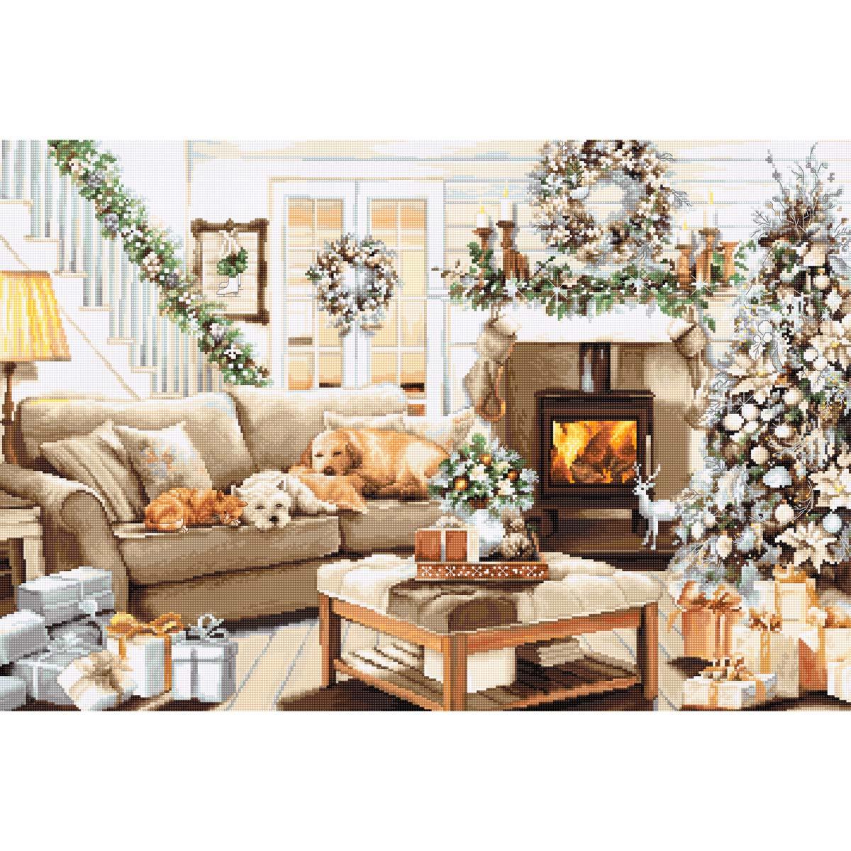 B2393 Набор для вышивания 'Мечтая о белом Рождестве' 50*34см, Luca-S