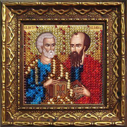 2081дПИ Набор для вышивания бисером 'Вышивальная мозаика' Икона 'Св. Апостолы Петр и Павел', 6,5*6,5 см