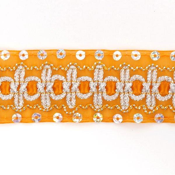 Тесьма с пайетками TBY арт.TH182 шир.38мм цв.017 оранжевый уп.18,28м, TBYTH18217